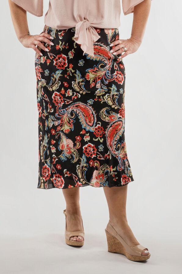 Paisley Chiffon Skirt, Black, original image number 0