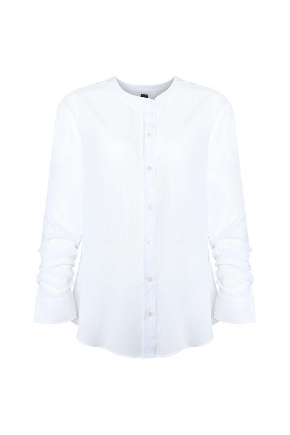Sheer Long Sleeve Blouse, White, original image number 0
