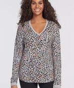 Leopard V-Neck Chic Sweatshirt, Grey, original image number 0