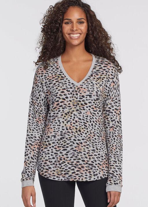 Leopard V-Neck Chic Sweatshirt, Grey, original