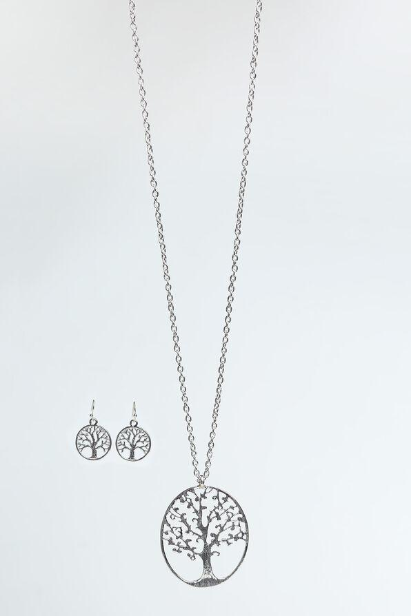 Tree Statement Necklace Set , Silver, original image number 0
