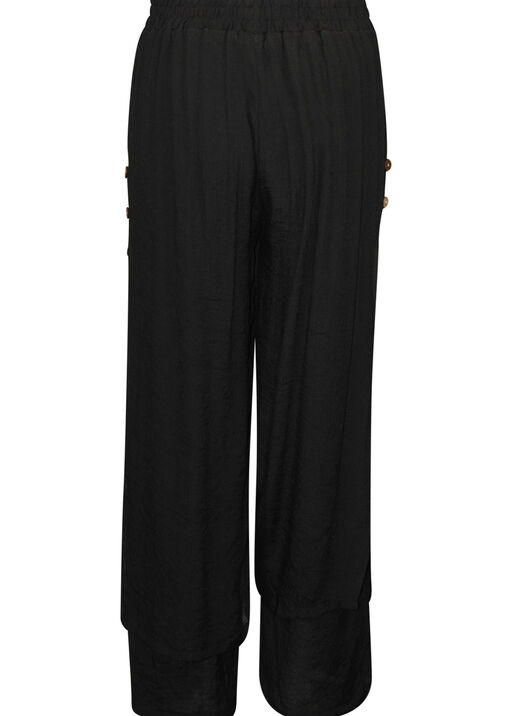 Layered Wide Leg Pant with Button Accent, Black, original