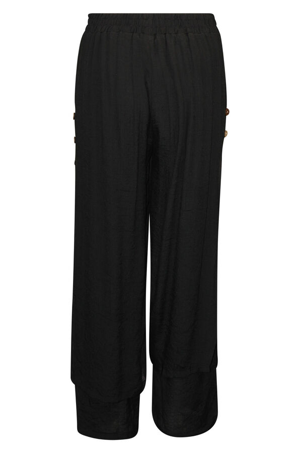 Layered Wide Leg Pant with Button Accent, Black, original image number 1