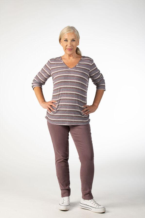 Mauve Stripes V-Neck, Purple, original image number 0