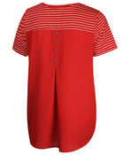 Striped T-Shirt with Chiffon Back and Button Detail , Red, original image number 1