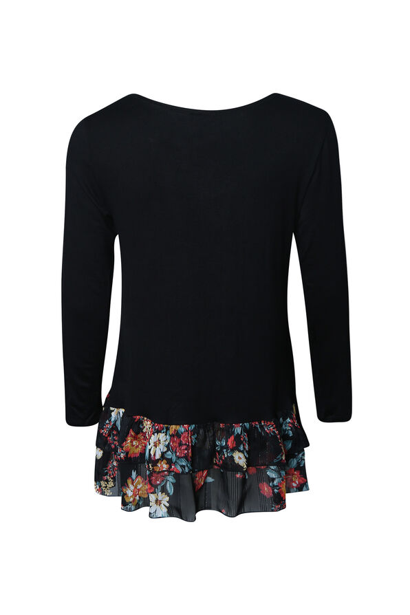 Solid Top with Printed Ruffle Hem, Black, original image number 1