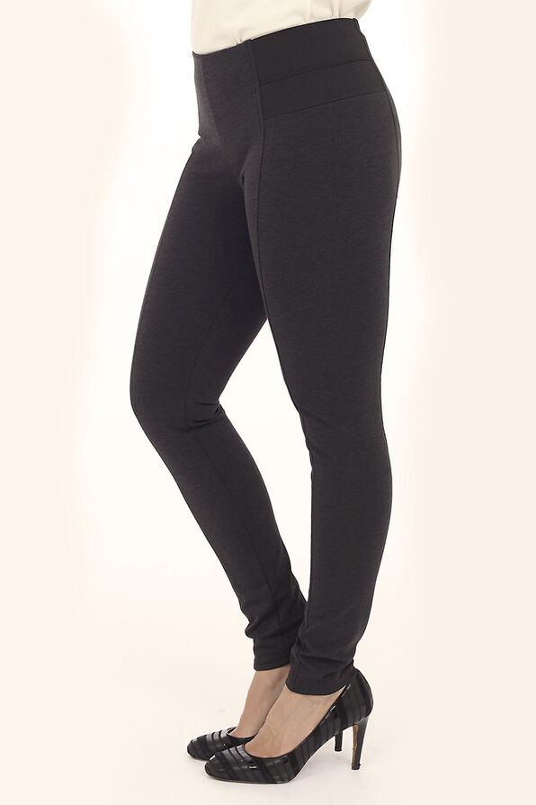 High Rise Stretch Ponte Pants, Charcoal, original image number 0