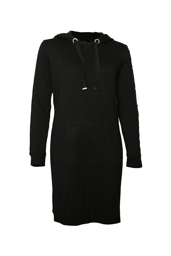 Studded-Sleeve Shirt Dress, Black, original image number 0