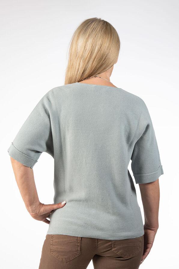 Pastel Mint Knit Sweater Shirt, Blue, original image number 2