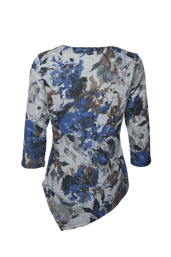 Marie Ribbed Floral Print Top, Denim, original image number 1
