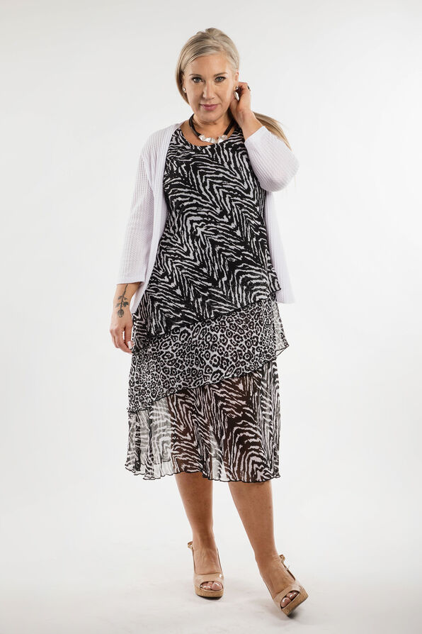 Zebra Print Dress, Black, original image number 1