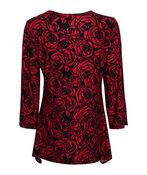 Rose Printed Top , Red, original image number 1