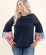 3/4 sleeve Solid and Print Top, Blue, original image number 0