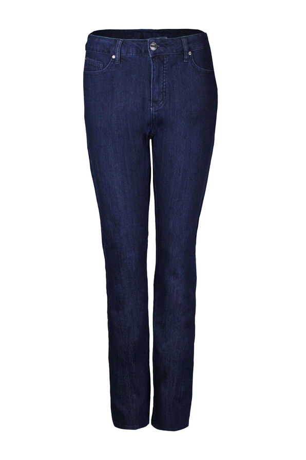Embroidered Pocket Tummy Control Simon Chang Jeans, Blue, original image number 0