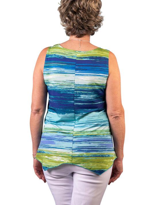 Brushed Stripe Sleeveless Top, Aqua, original