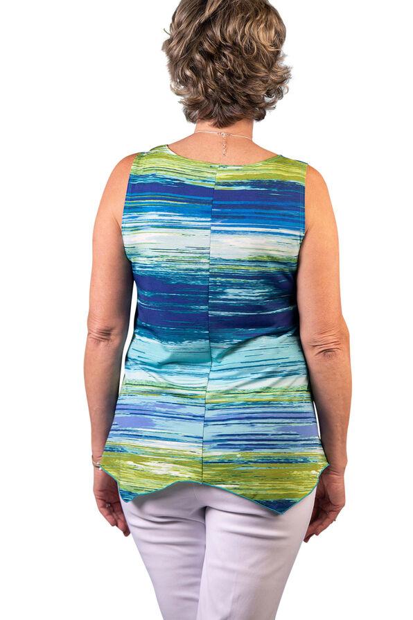 Brushed Stripe Sleeveless Top, Aqua, original image number 1