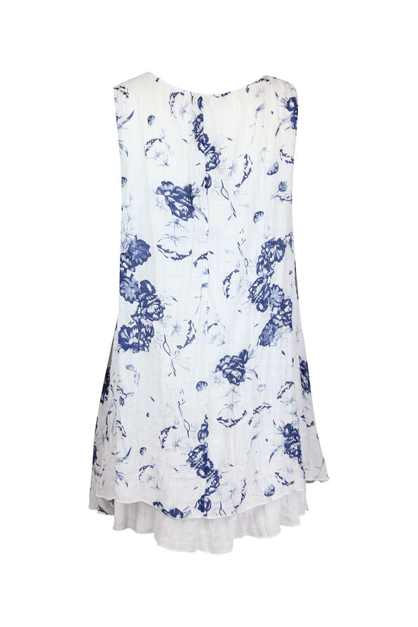 Crinkle Fabric Floral Printed Sleeveless Tunic, Blue, original image number 1