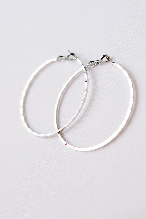 Notched Edge Hoops, Silver, original image number 2