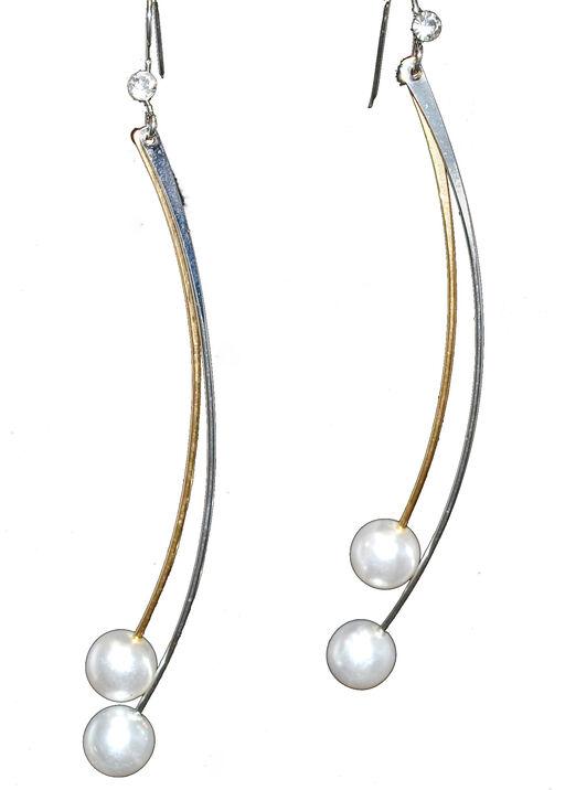Pearl Finish Dangle Earrings, , original