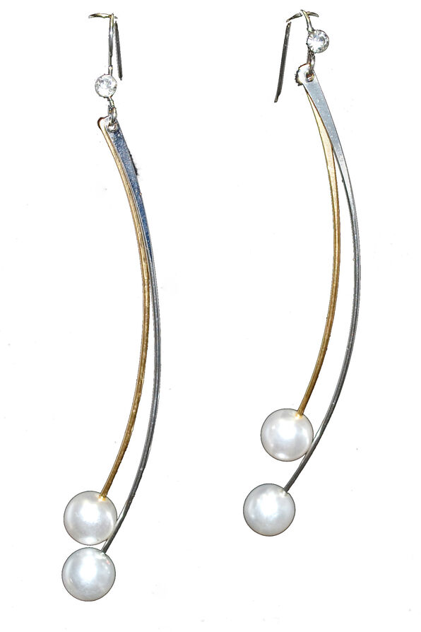 Pearl Finish Dangle Earrings, Silver, original image number 0