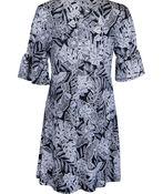 Keyhole Neckline Shift Dress with 1/2 Ruffle Sleeve , Black, original image number 1