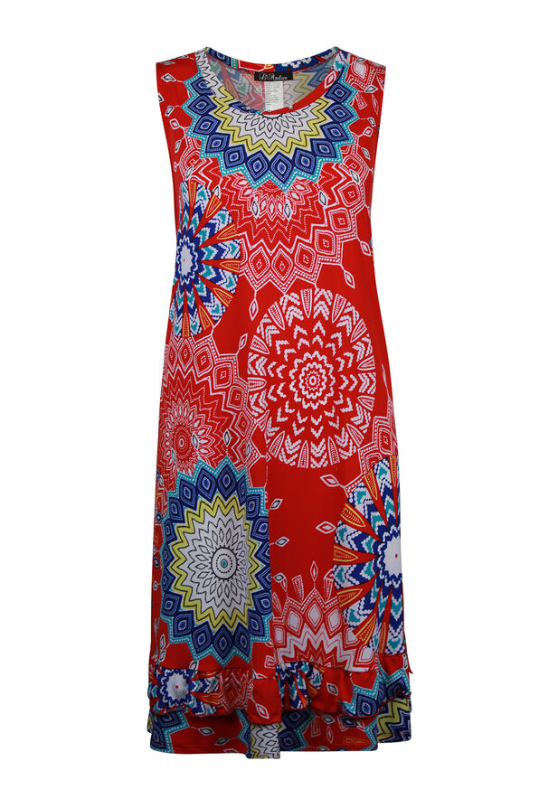 Sleeveless Medallion Print Swing Dress , Red, original image number 0