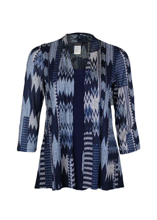 Chevron Print Fooler Top with 3/4 Sleeves, Blue, original