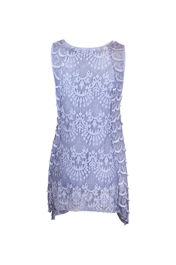 Sleeveless Lace Top with Sharkbite Hem, Denim, original image number 1