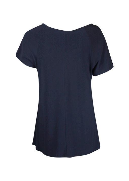 Laced Shoulder with Grommets Short Sleeve Top, Navy, original