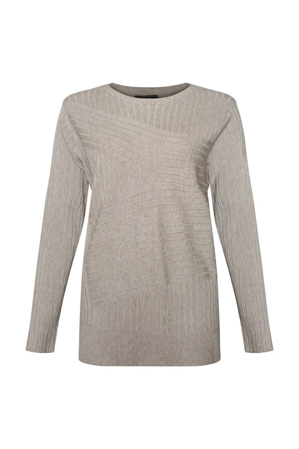 Ribbed Sweater with Side Slits, , original image number 2