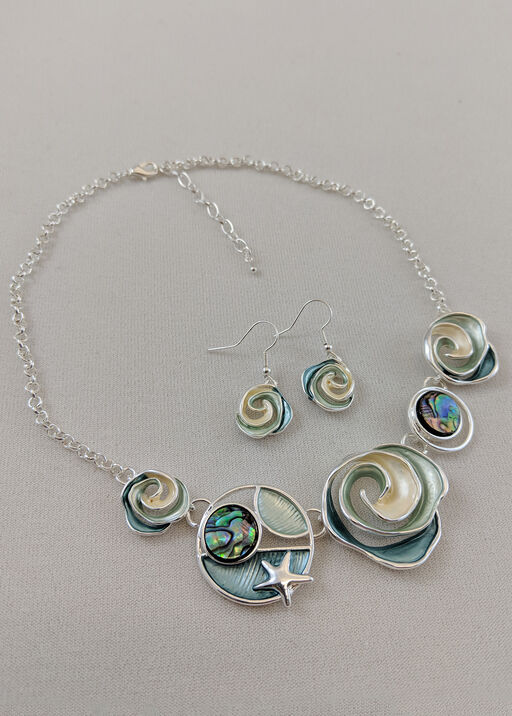 Ocean View Necklace and Earrings Set, , original