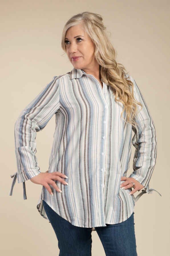 Stripe and Bow Blouse, Blue, original image number 0