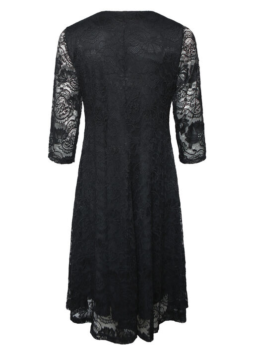 Lace Dress 3/4 Sleeve Fit and Flare, Black, original