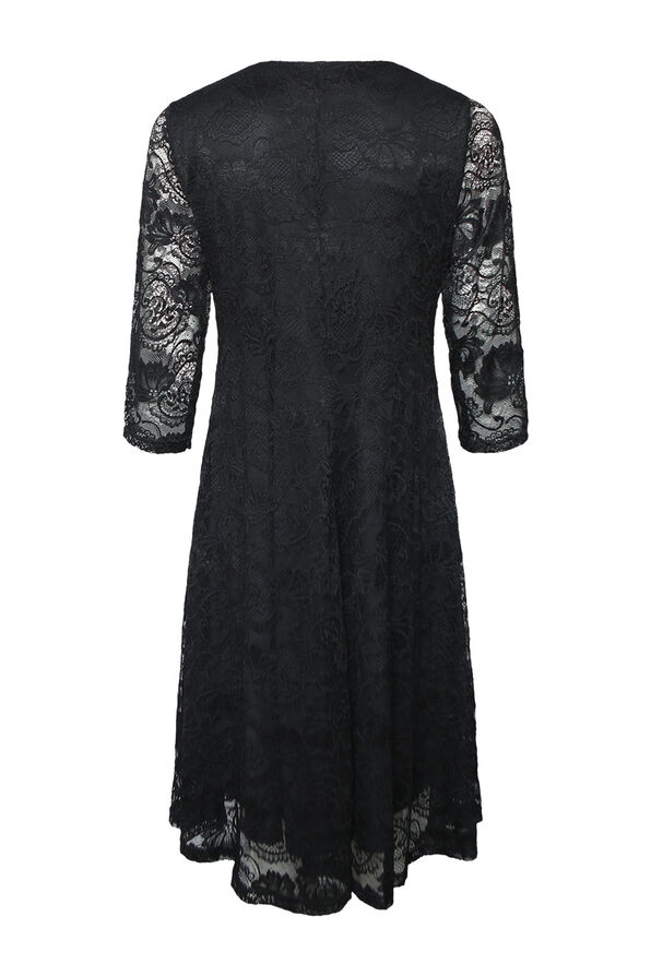 Lace Dress 3/4 Sleeve Fit and Flare, Black, original image number 1