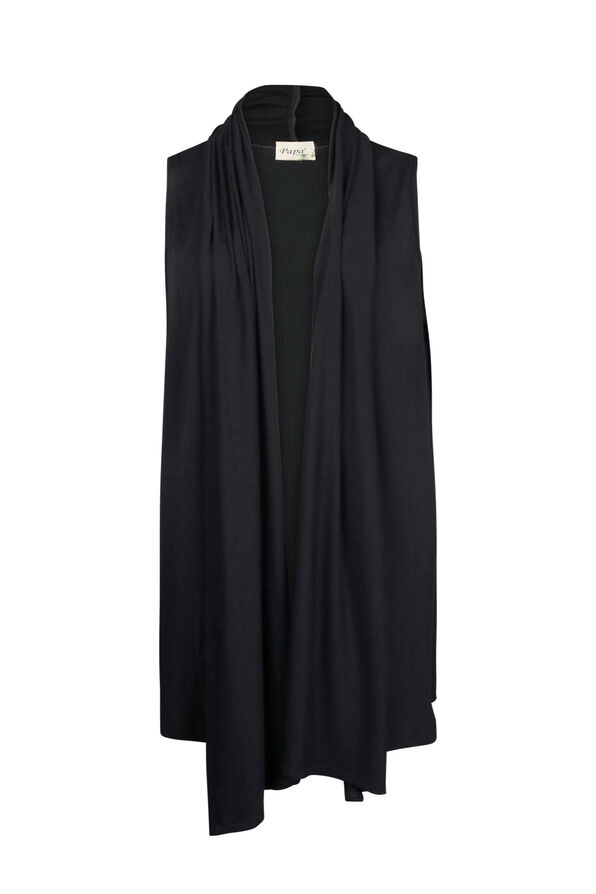 Bamboo Long Vest, Black, original image number 0