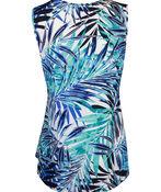 Sleeveless Aline Hi-Lo Printed Top, Turquoise, original image number 1