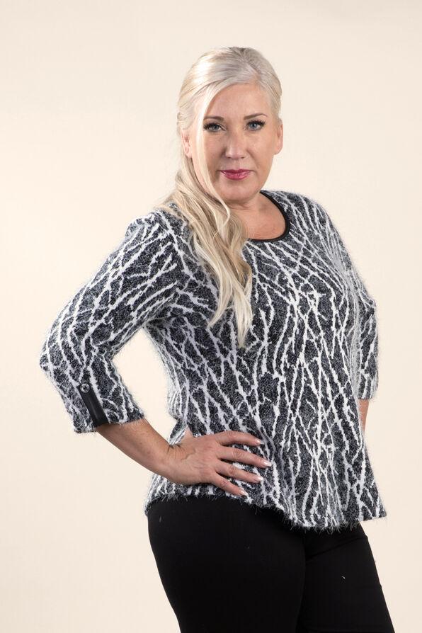Cozy Print Sweater Knit Top, Black, original image number 0