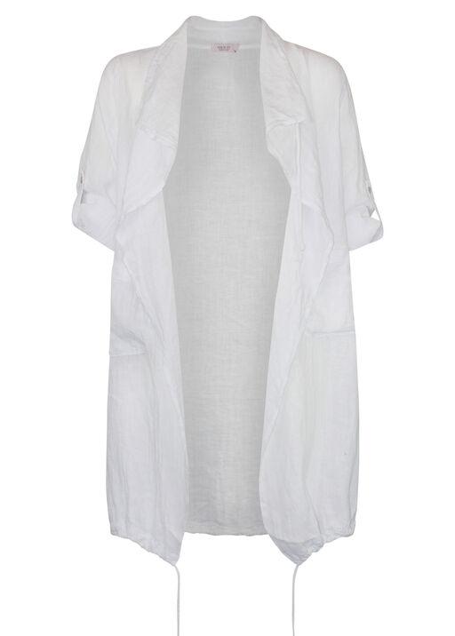 Linen Drape Front Jacket, , original