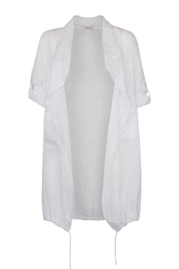 Linen Drape Front Jacket, , original image number 1