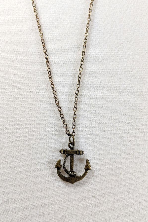 Anchor Necklace, Gold, original image number 0