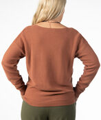 LONG SLEEVE SWEATER WITH V NECK, Rust, original image number 2