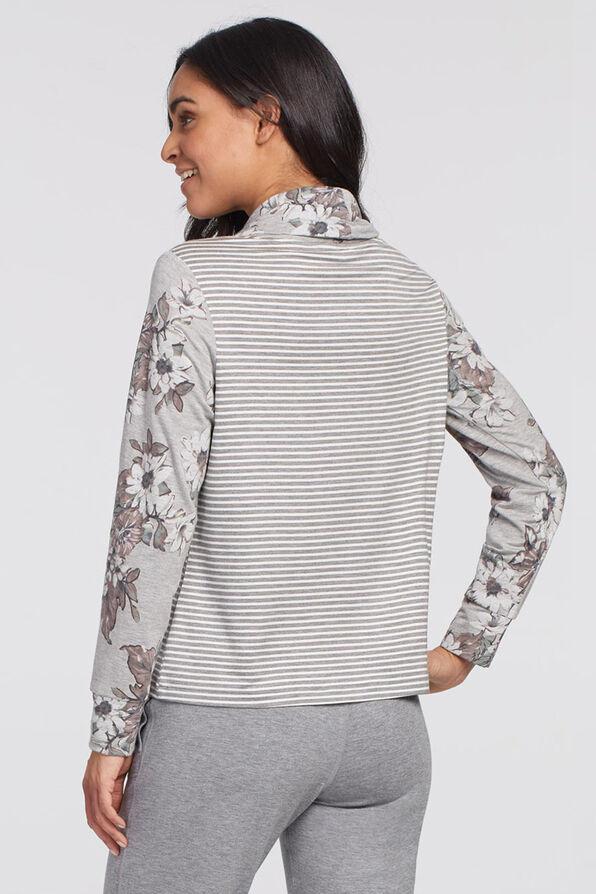 Cowl Athleisure Sweater, Grey, original image number 1