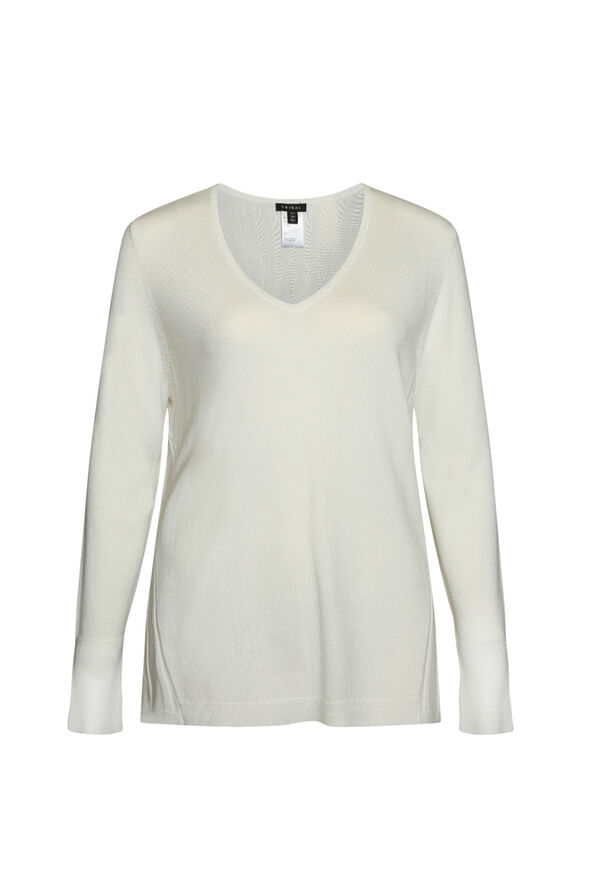 Raya Ribbed Back V-Neck Sweater, , original image number 3