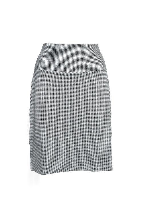 Houndstooth Print Pull On Skirt, Black, original