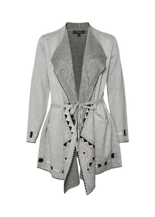 Geometric Accents Long Cardigan, , original