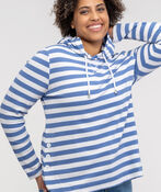 Striped Hooded Waffle Long Sleeve Top, , original image number 0