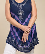 Embroidered Trim Tie Dye Sleeveless Tunic, Blue, original image number 2