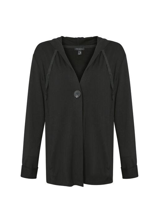 Lounge Cardigan with Hood, Black, original