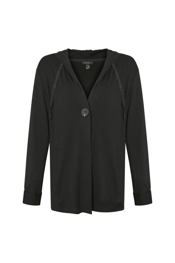 Lounge Cardigan with Hood, Black, original image number 0