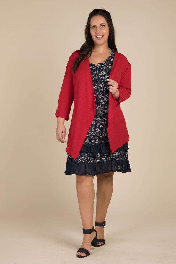 Open Front Cardigan, Red, original image number 0